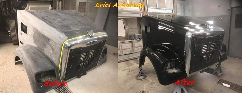 Semi Truck Front Bumper Spray Painted Black