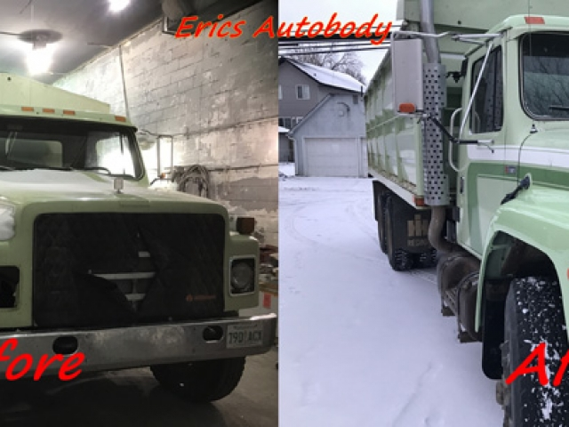 Dump Truck Painted Green with Stripe